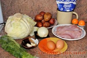 Картофельная запеканка с куриным филе и капустой