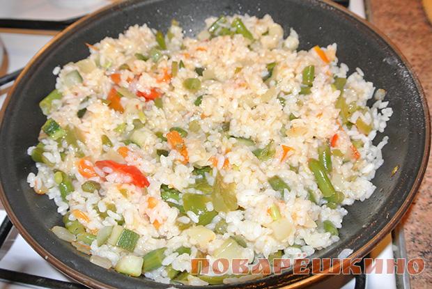 Рис смешать с овощами