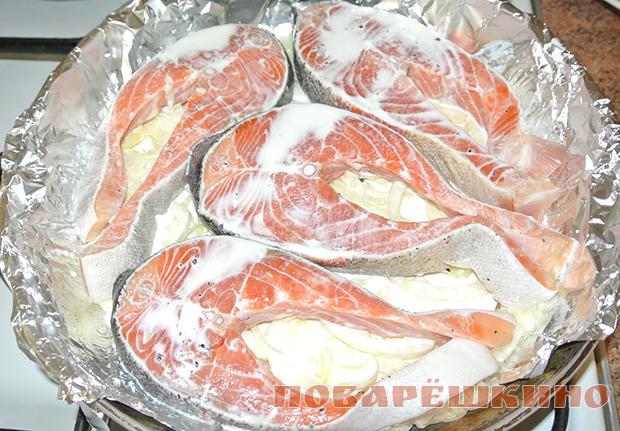 Вкусная красная рыба в сливках