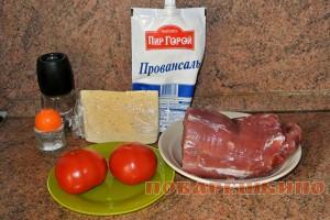 Свиные отбивные с помидорами и сыром
