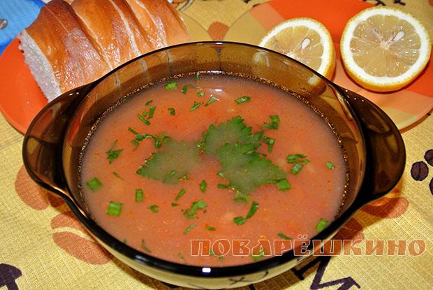 Турецкий томатный суп с вермишелью