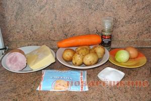 Картофельная запеканка с ветчиной и сыром: ингредиенты