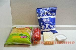 Ингредиенты для макаронной запеканки с колбасой