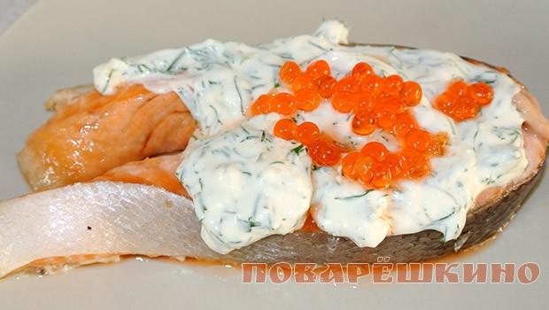 Вкусная семга под сливками