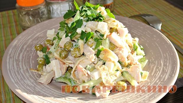 Салат из блинов с курицей с чесноком рецепт с