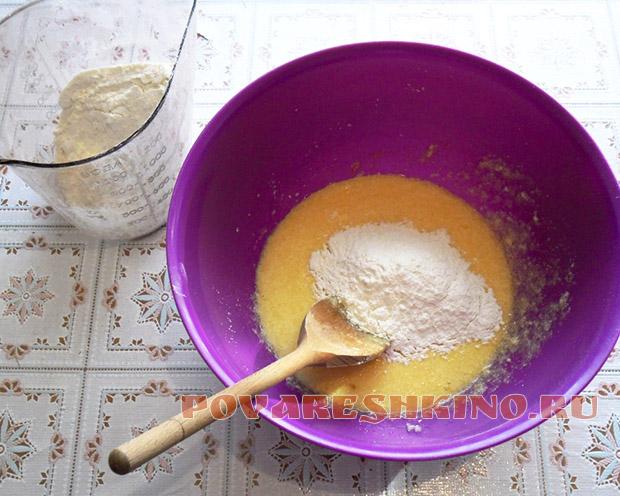 Песочный пирог с клюквой и заварным кремом в микроволновке