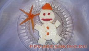 Омлет на пару Снеговик для детей