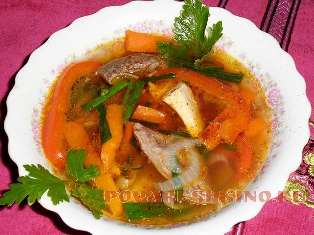 Суп с говядиной и кальмарами