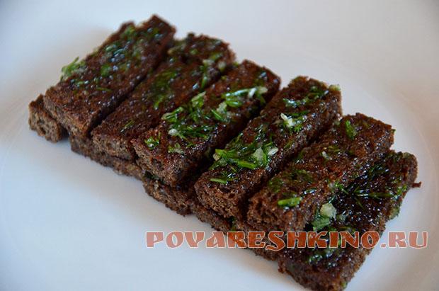 Гренки к пиву из черного хлеба в духовке рецепт с пошагово в