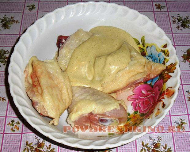 Куриный окорочок в горчично-майонезном маринаде в микроволновке