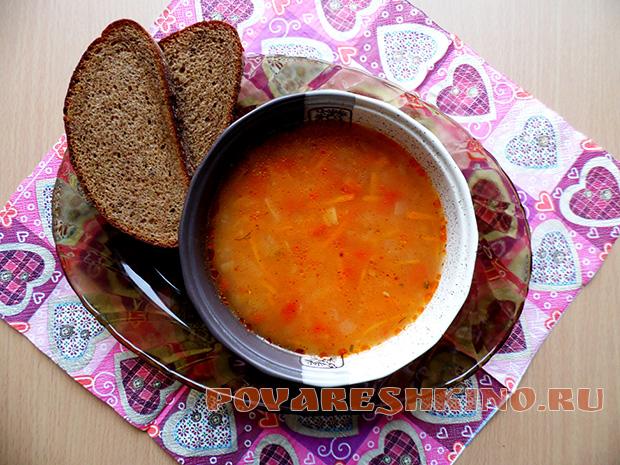 Постный суп с пшеном и консервированными помидорами