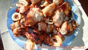 Шашлык из свинины, маринованный в томатном соке
