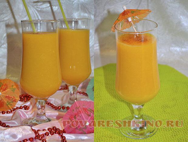 Смузи Солнечный с тыквой с апельсином