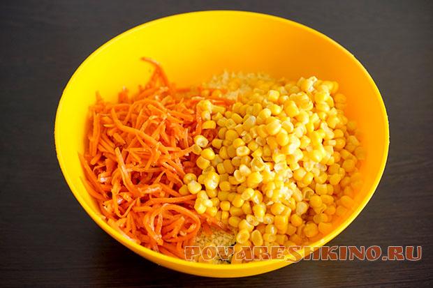 Салат Венеция с копченой колбасой и кукурузой