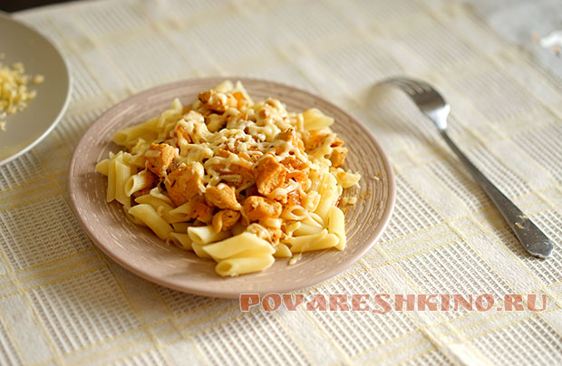 Макароны с курицей - ужин за 20 минут