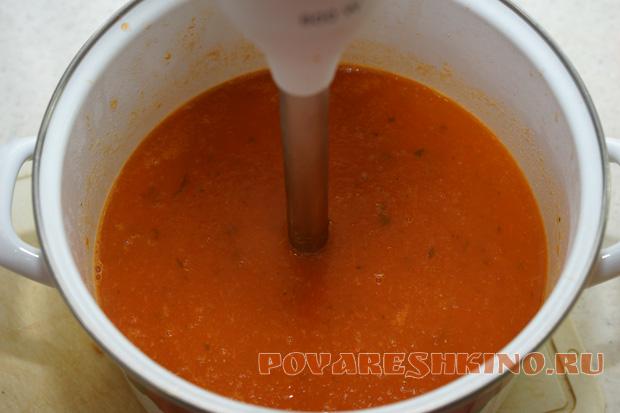 Быстрый томатный суп-пюре с сыром